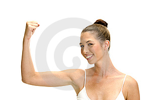 Smiling Female Showing Her Muscles Royalty Free Stock Photography - Image: 6585187