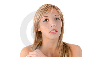 Young  Blonde Woman Looks At The Camera Royalty Free Stock Photos - Image: 6585268