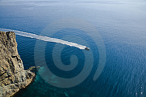 Speedy Motorboat Aerial View Royalty Free Stock Images - Image: 6586359