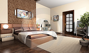 Interior of a bedroom Free Stock Images