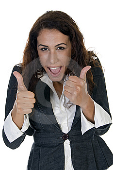 Lady Teasing With Thumbs Stock Image - Image: 6588561