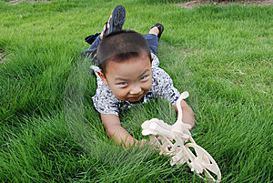 The Boy Play On Meadow Royalty Free Stock Photos - Image: 6588898