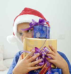 Boy And Presents Royalty Free Stock Photos - Image: 6600658