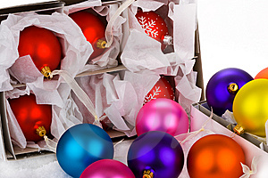 Boxed Christmas Bauble Decorations Royalty Free Stock Images - Image: 6602929