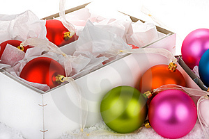 Boxed Christmas bauble decorations Stock Photos