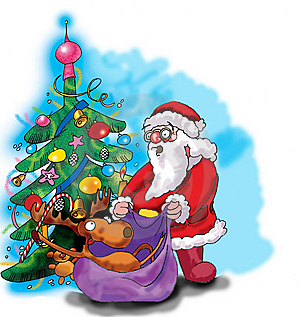 Deer, Santa Claus And Christmas Tree Stock Photo - Image: 6607210