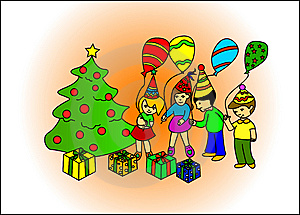 Children Discovering Gifts Under Tree Royalty Free Stock Photography - Image: 6613597