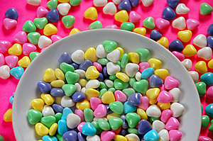 Bowl of candy hearts Stock Photo