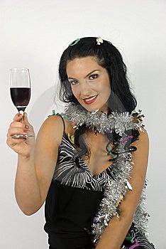 Festa della donna festa di capodanno con il vino e confetti, più foto con questo modello nel tempo di Natale, santa donna e il tempo del partito.