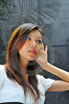Asian Girl Hand Gesture - Hearing 2 Stock Images - Image: 6617294