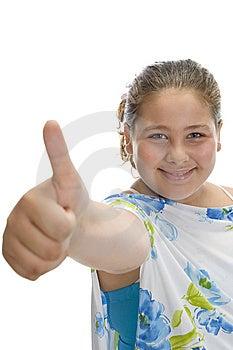 Smiling Girl Wishing Good Luck Stock Image - Image: 6618861