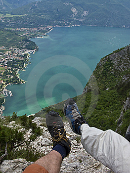 Trekking Above A Lake Stock Photo - Image: 6619370