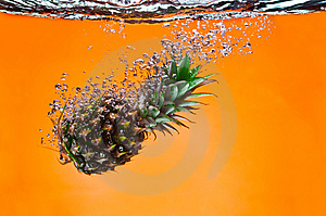 Pineapple On Yellow Stock Photo - Image: 6623010