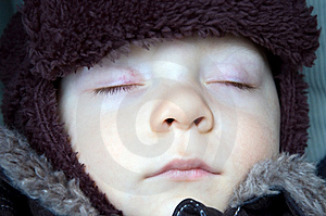 Sleeping Baby Boy Winter Royalty Free Stock Photo - Image: 6623525
