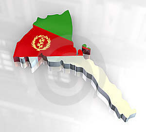 3d Flag Map Of Eritrea Stock Photography - Image: 6624542
