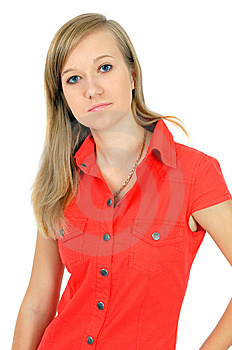 Portrait Of Pretty Young Girl In Red Shirt Royalty Free Stock Image - Image: 6629076