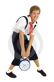 Wakeup Men With Alarm Clock Isolated Stock Photo - Image: 6629590