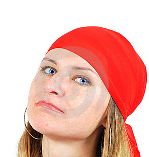 Nice Girl In Red Kerchief Royalty Free Stock Photography - Image: 6631647