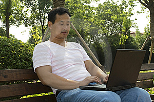 Man Using A Laptop In The Park Stock Image - Image: 6633311