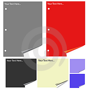 Different Colored Paper With Realistic Page Curl. Stock Photography - Image: 6633402
