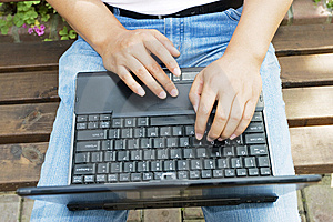 Man Using A Laptop In The Park Royalty Free Stock Photography - Image: 6633527