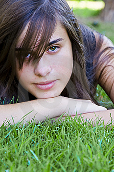 Young Woman On Grass Royalty Free Stock Photography - Image: 6633957
