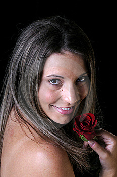 Beautiful Young Woman With Red Rose Stock Photography - Image: 6636362