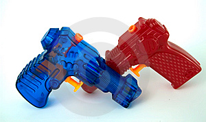 Red And Blue Water Pistols Royalty Free Stock Images - Image: 6641059