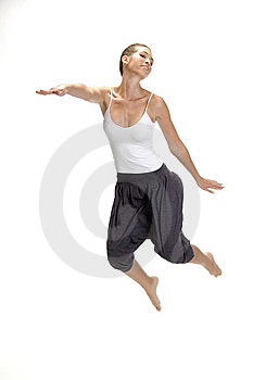 White Woman Jumps Up Royalty Free Stock Photos - Image: 6643638