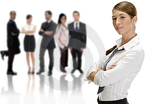 Businesswoman near group