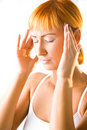 Terrible headache Stock Photo