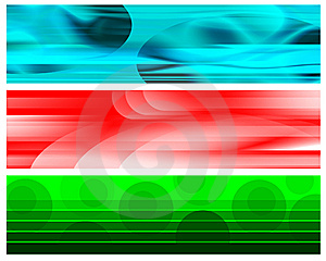 Cyan Red White Green Banners