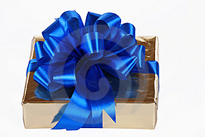 Gold Present With Blue Ribbons Stock Photo - Image: 6653070
