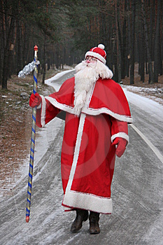 Santa Claus On Forest Road 2 Royalty Free Stock Photography - Image: 6653757