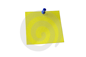 Yellow sticky note. Clipping path.