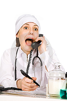 Comical Woman-therapist Royalty Free Stock Image - Image: 6664426
