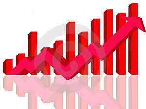 Financial Growth-red arrow and bars