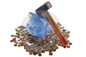 Hammer Crush Piggy Bank Stock Images - Image: 6665204