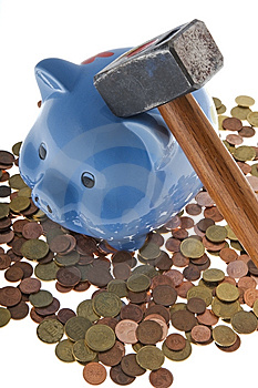 Hammer Crush Piggy Bank Royalty Free Stock Photos - Image: 6665208