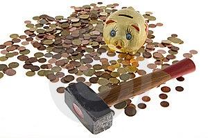 Hammer Crush Piggy Bank Stock Photo - Image: 6665210