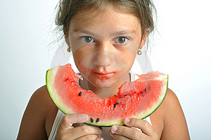 Little Girl And Watermelon Royalty Free Stock Photos - Image: 6672428