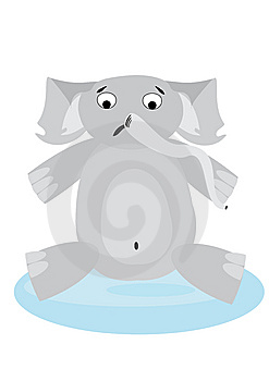 Upset Elephant  In Pool Royalty Free Stock Images - Image: 6680139
