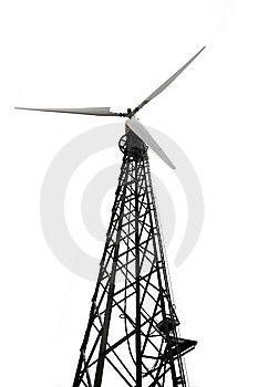 Wind Turbine Over White Stock Images - Image: 6680374