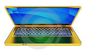 Modern Golden Laptop Stock Photos - Image: 6681343