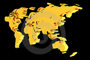 Golden World Map Stock Images - Image: 6681844