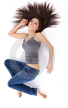 Pretty girl with long hair Royalty Free Stock Images