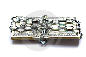 Dollars Locked A Chain Royalty Free Stock Photos - Image: 6685998