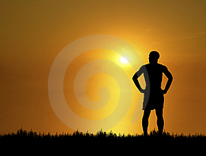 Man at Sunset Royalty Free Stock Photography