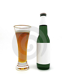 Beer in glass and beer bottle with blank label Royalty Free Stock Photography
