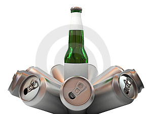 Beer Bottle With Blank Label And Aluminum Banks Stock Photography - Image: 6690562